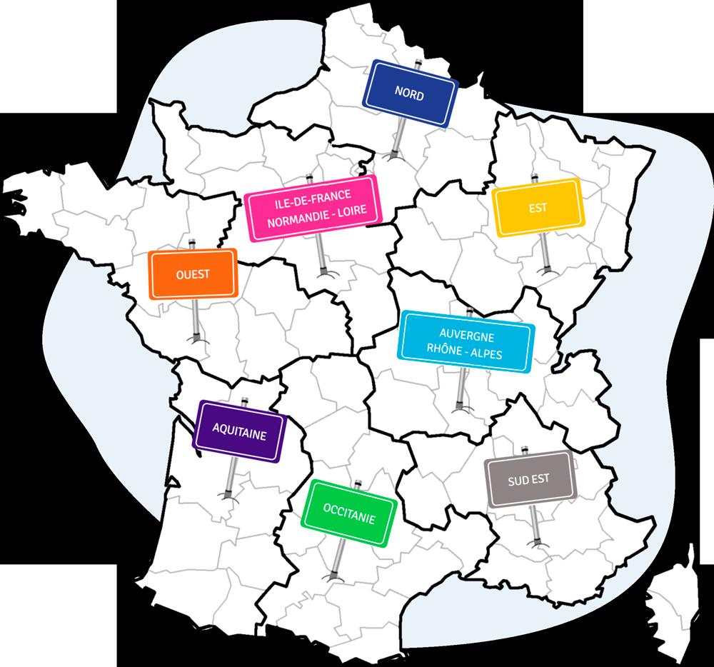 Carte de France des régions commerciales Direct Garantie